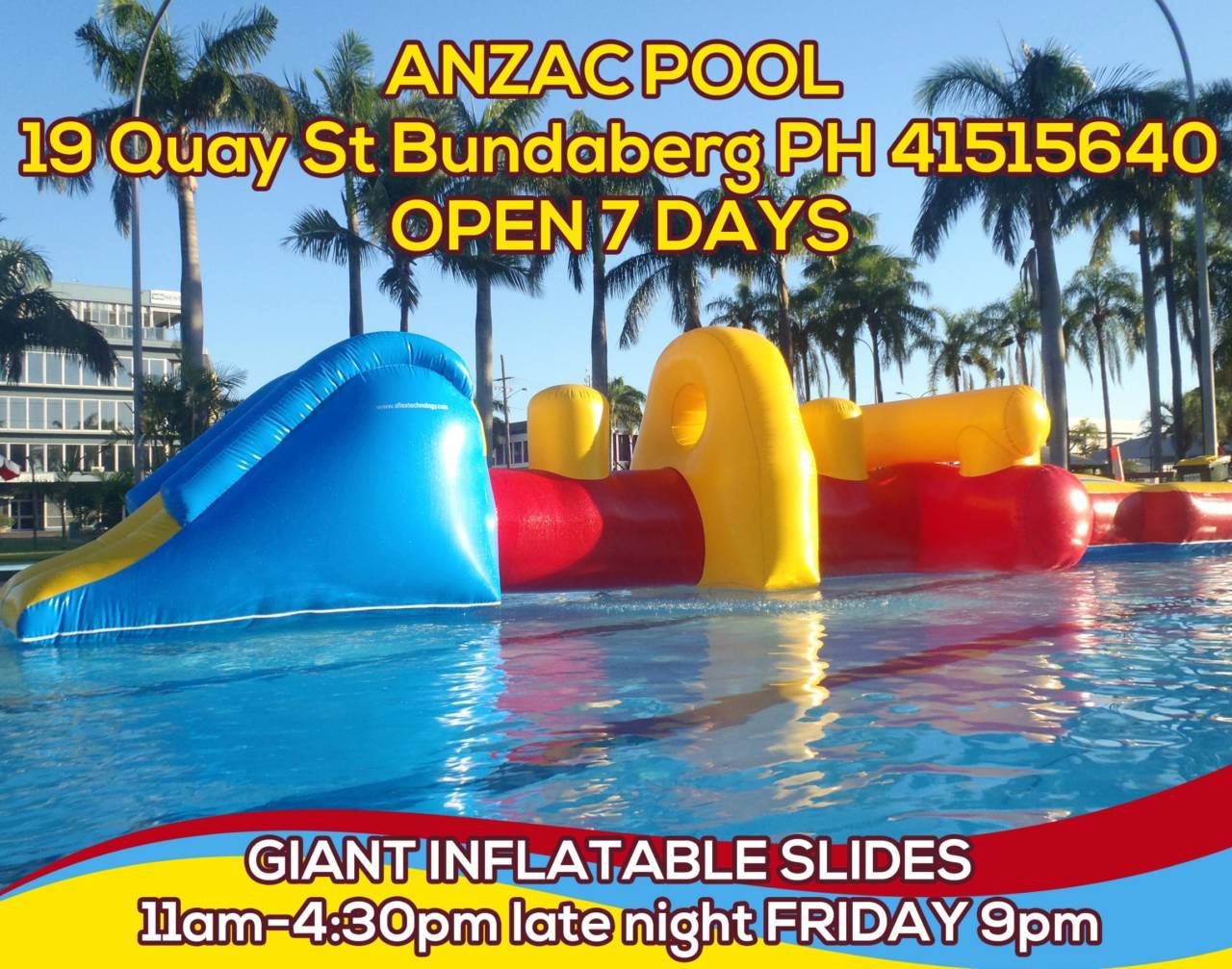 Bundaberg ANZAC Pool Giant Slides \u0026 Dino Rides - Wide Bay Kids