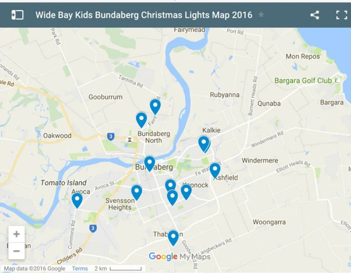 bundabergxmaslighstmap2016 Wide Bay Kids