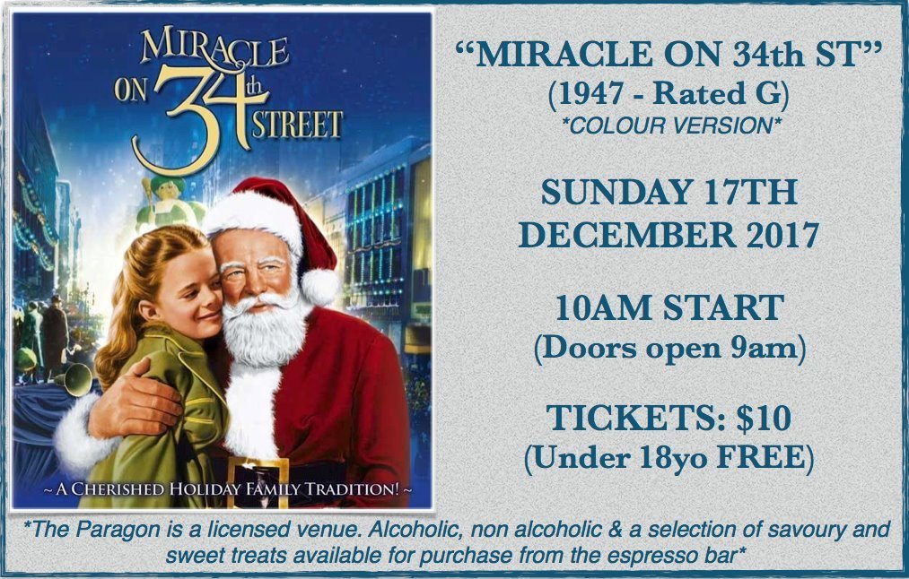 paragon theatre presents miracle on 34th Street